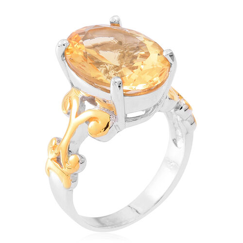 Designer Inspired- Uruguay Citrine (Ovl) Ring in Yellow Gold and Rhodium Plated Sterling Silver 8.000 Ct.