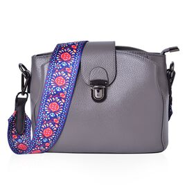 Genuine Leather Dark Grey Colour Shoulder Bag with Buckle Lock and Colourful Removable Shoulder Strap (Size 25.5X19X12 Cm)
