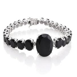 Boi Ploi Black Spinel (Ovl 35.20 Ct) Bracelet (Size 8.25) in Platinum Overlay Sterling Silver 91.250 Ct. Silver wt. 26.19 Gms.