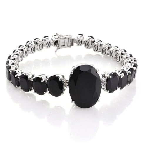 Rare Size Boi Ploi Black Spinel (Ovl 35.20 Ct) Bracelet (Size 8.25) in Platinum Overlay Sterling Silver 91.250 Ct. Silver wt. 26.19 Gms.