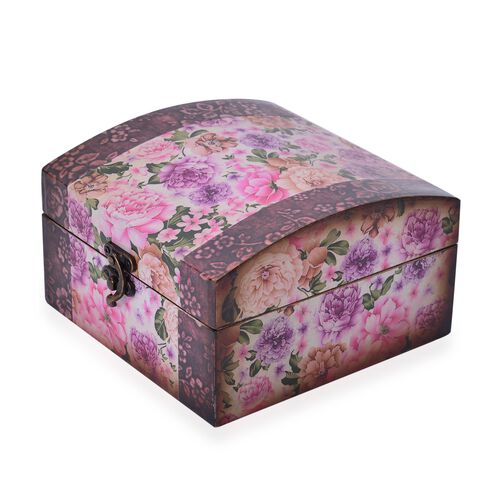 Set of 2 - Purple, Pink and Multi Colour Floral Pattern Arched Shape MDF Jewellery Box (Size 16.5X16.5X10 and 13X13X8 Cm)
