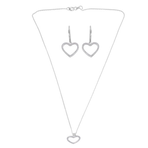 Brilliant Cut Simulated Diamond (Rnd) Heart Pendant with Chain (Size 18) and Lever Back Earrings in Rhodium Plated Sterling Silver, Silver wt 3.00 Gms.