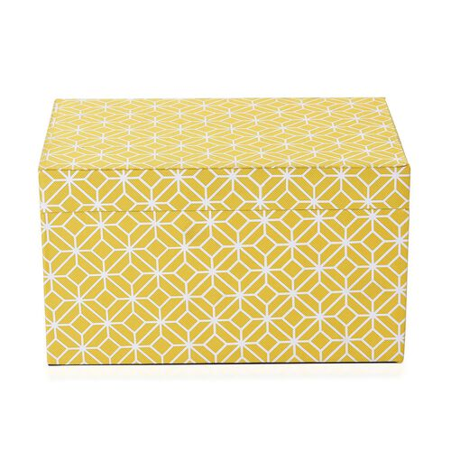 Yellow and White Colour Abstract Pattern Foldable Storage Box (Size 25x16x14.5 Cm)