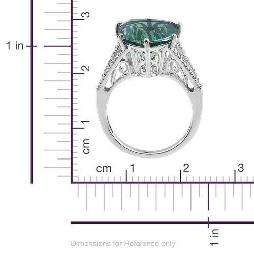 Peacock Quartz (Trl 8.50 Ct), Diamond Ring in Platinum Overlay Sterling Silver 8.520 Ct.