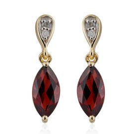 9K Yellow Gold AA Mozambique Garnet (Mrq), Diamond Earrings (with Push Back) 1.900 Ct.