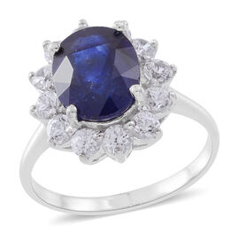 Limited Edition- Designer Inspired- Rare Size AAA Madagascar Blue Sapphire (Ovl 11X9 mm 5.00 Ct), Natural White Cambodian Zircon Ring in Rhodium Plated Sterling Silver 6.750 Ct.