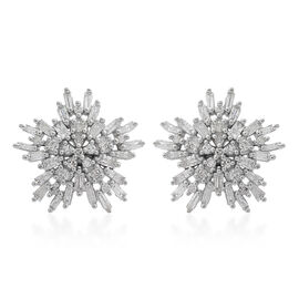 9K White Gold Diamond (Bgt) (I3/G-H) Starburst Earrings (with Push Back) 0.750 Ct.