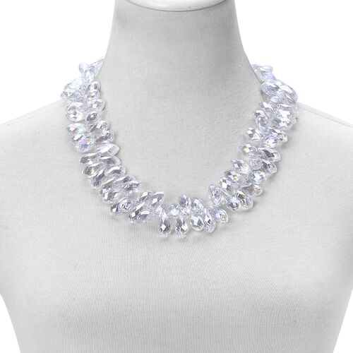 Simulated White Quartz Necklace (Size 20 with 2 inch Extender) in Silver Tone