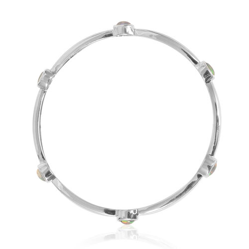 Ethiopian Welo Opal (Ovl) Bangle (Size 7.5) in Platinum Overlay Sterling Silver 2.000 Ct.