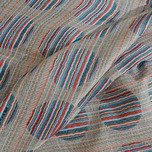 100% Cashmere Wool Grey, Red and Multi Colour Circle Pattern Scarf with Fringes (Size 200X70 Cm)
