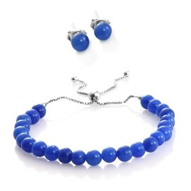 Super Auction-Rare Blue Jade Ball Beads Adjustable Bracelet (Size 6.5 to 8.5) and Stud Earrings (with Push Back) in Rhodium Plated Sterling Silver 36.400 Ct.