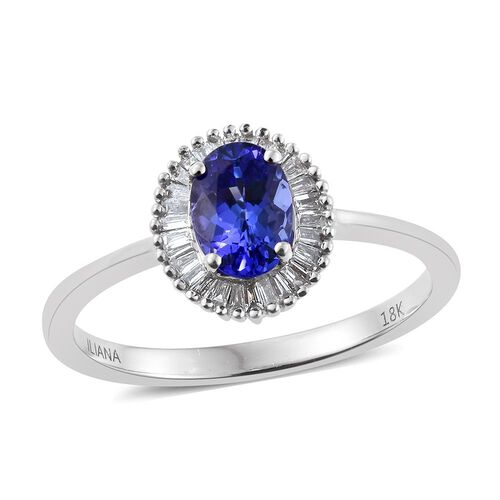 ILIANA 18K White Gold 1 Carat AAA Oval Tanzanite Halo Ring With Diamond SI G-H