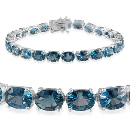 London Blue Topaz (31.50 Ct) Platinum Overlay Sterling Silver Bracelet (Size 8)  31.500  Ct.