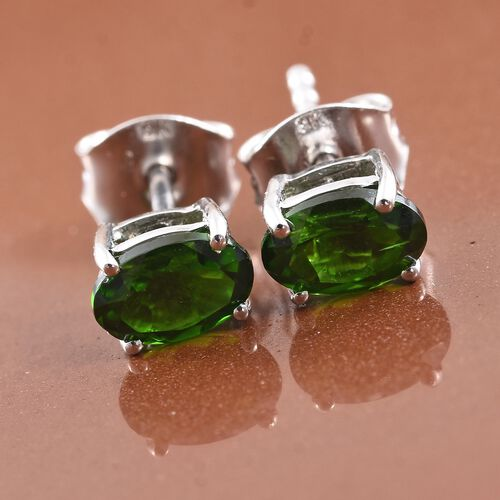9K White Gold 1 Carat AAA Russian Diopside (Ovl) Stud Earrings (with Push Back)