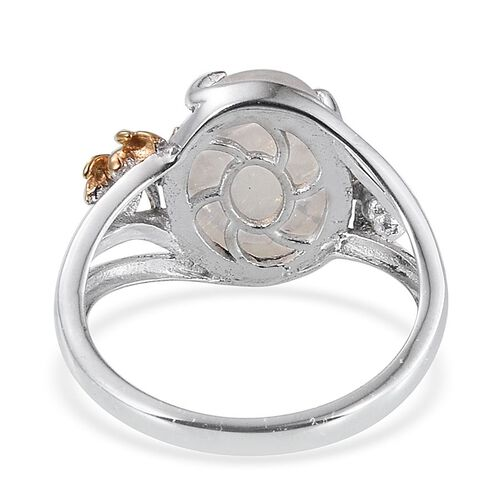 Natural Rainbow Moonstone (Ovl) Solitaire Ring in Platinum and Yellow Gold Overlay Sterling Silver 6.250 Ct.