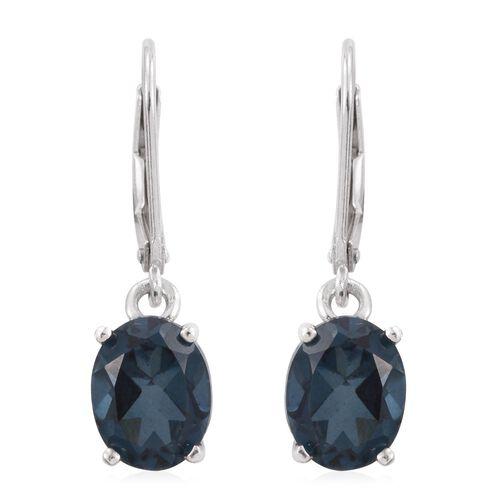 Indicolite Quartz (Ovl) Lever Back Earrings in Platinum Overlay Sterling Silver 4.750 Ct.