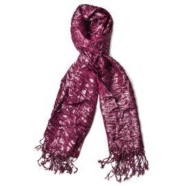 Water Wave Shape Dark Purple Colour Scarf with Tassels (Size 170x65 Cm)