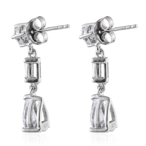 J Francis - Platinum Overlay Sterling Silver (Pear) Earrings (with Push Back) Made with SWAROVSKI ZIRCONIA
