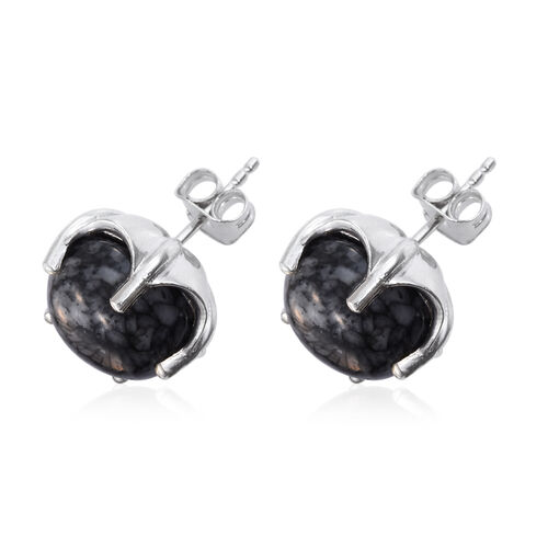 Austrian Pinolith (Rnd) Stud Earrings (with Push Back) in Platinum Overlay Sterling Silver 14.500 Ct.
