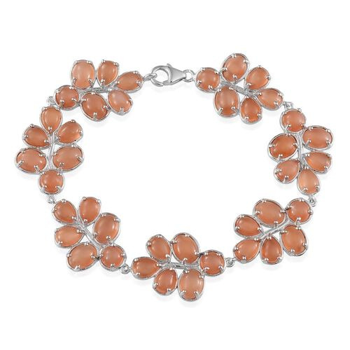 Mitiyagoda Peach Moonstone (Ovl) Bracelet in Platinum Overlay Sterling Silver (Size 7.5) 40.000 Ct.