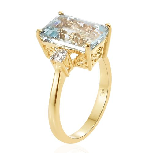 ILIANA 18K Yellow Gold AAA Espirito Santo Aquamarine (Oct 6.65 Ct), Diamond (SI/G-H) Ring 7.000 Ct. Gold wt 5.40 Gms.