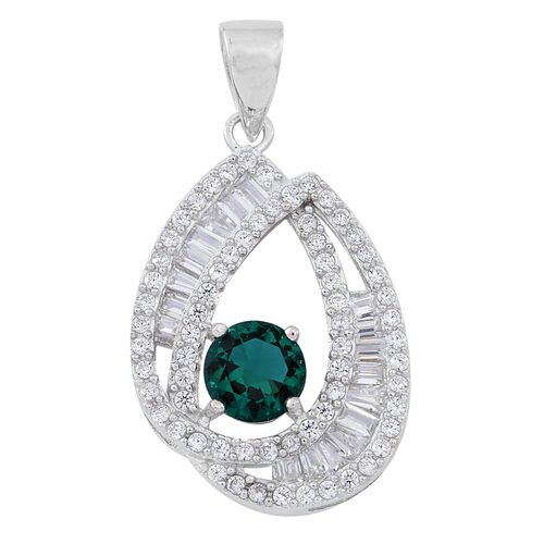 Signature Collection-ELANZA AAA Simulated Emerald (Rnd), Simulated Diamond Pendant in Rhodium Plated Sterling Silver, Silver wt 3.19 Gms.