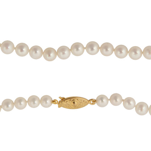 AAA Fresh Water Round Pearl Necklace in Silver Bond