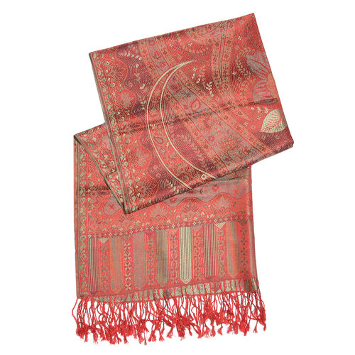 SILK MARK - 100% Superfine Silk Autumn Sunset, Golden and Multi Colour Floral and Leaves Pattern Jacquard Jamawar Scarf with Fringes (Size 180x70 Cm) (Weight 125 - 140 Gms)