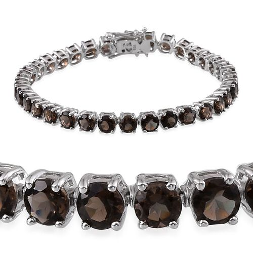 Brazilian Smoky Quartz (Rnd) Bracelet (Size 7.5) in Platinum Overlay Sterling Silver 16.000 Ct.
