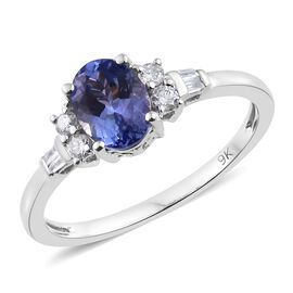 9K White Gold 1.25 Ct AA Tanzanite Ring with Diamond