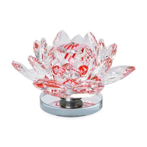 Fantasy Collection - Hand Crafted AAA Red Austrian Crystal and Faceted Glass Rotating Base Lotus with a Gift Box.