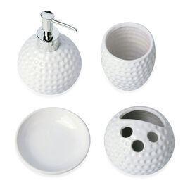White Style Ceramic Bathroom Accessories 1 Toothbrush Holder (8x5 Cm), 1 Tumbler (10x5 Cm), 1 Soap Dish (10x5 Cm) and 1 Lotion Dispenser (15x5 Cm)