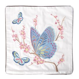 DOD - 100% Cotton Multi Colour Butterfly Embroidered Cushion Cover (Size 45x45 Cm)