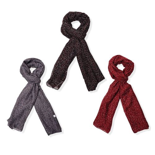 Set of 3 - Floral Pattern Red, Black and Grey Colour Scarf (Size 175x90 Cm)