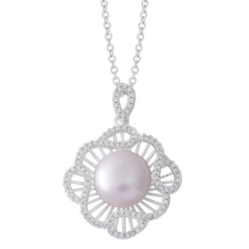 (Option 3) Fresh Water White Pearl and Simulated White Diamond Pendant With Chain (Size 20) in Silver Tone With Stainless Steel