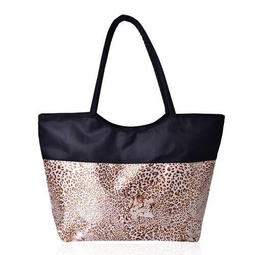 Black and Brown Colour Leopard Pattern Tote Bag (Size 52X38X32X15.5 Cm)