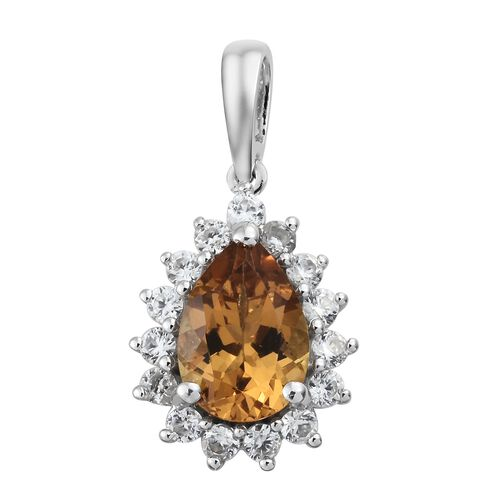 Collectors Edition- Heliodor (Pear), Natural Cambodian Zircon Pendant in Platinum Overlay Sterling Silver 2.250 Ct.
