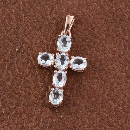 Espirito Santo Aquamarine 1.75 ct. Silver Cross Pendant in Rose Gold Overlay