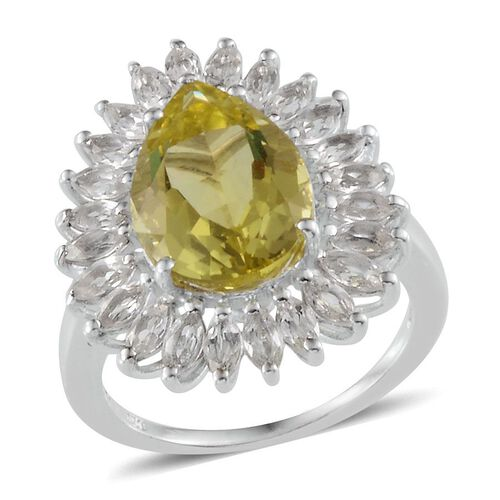 Brazilian Green Gold Quartz (Pear 5.25 Ct), White Topaz Ring in Platinum Overlay Sterling Silver 7.750 Ct.