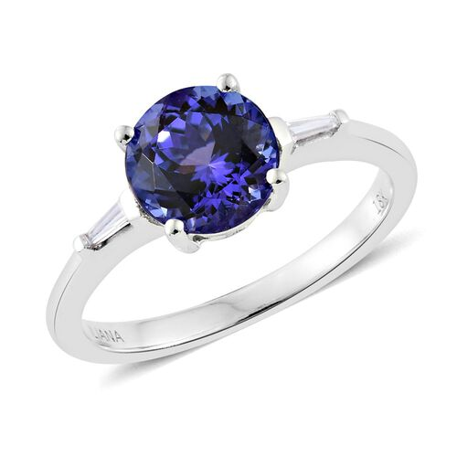 ILIANA 18K White Gold 1.75 Ct AAA Tanzanite Ring with Diamond SI G-H
