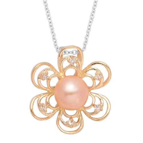Fresh Water Dyed Peach Pearl and White Austrian Crystal Flower Pendant in Gold Tone with Stainless Steel Chain (Size 20)
