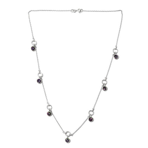 Northern Lights Mystic Topaz (Rnd) Necklace (Size 18) in Sterling Silver 4.000 Ct. Silver wt 6.00 Gms.