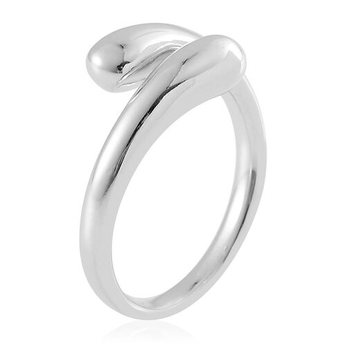 LucyQ Crossover Drip Ring in Rhodium Plated Sterling Silver 5.13 Gms.
