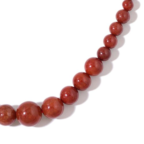 Burmese Red Jade Ball Necklace (Size 18 with 2 inch Extender) and  Earrings in Rhodium Plated Sterling Silver 221.000 Ct.