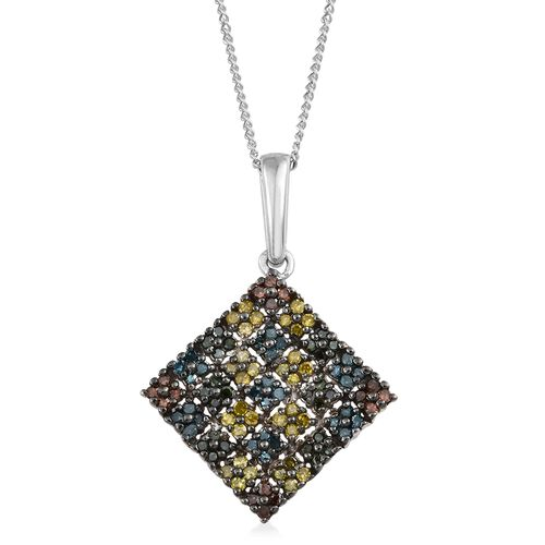 Red, Yellow, Green and Blue Diamond (Rnd) Square Pendant With Chain in Platinum Overlay Sterling Silver 0.500 Ct. Number of Diamonds 100