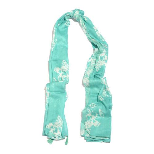 Floral Pattern Vivid Green Colour Scarf (Size 180x100 Cm)