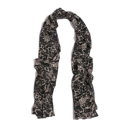 Leopard Printed Black Colour Scarf (Size 185x105 Cm)