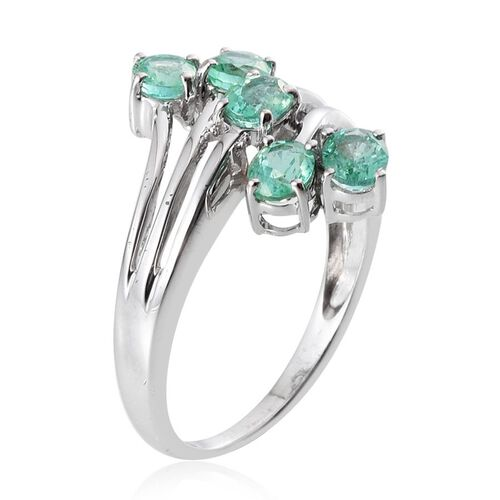 9K W Gold Boyaca Colombian Emerald (Ovl) 5 Stone Crossover Ring 1.650 Ct.