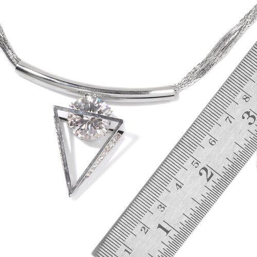 AAA Simulated White Diamond Triangle Shape Pendant With Chain (Size 18 with Extender) and Bracelet (Size 8 with Extender) in Silver Tone