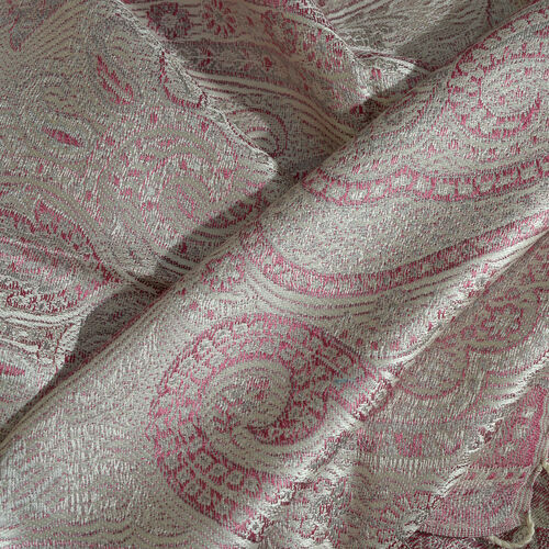 SILK MARK - 100% Superfine Silk Pink, Golden and Off White Colour Paisley and Floral Pattern Jacquard Jamawar Scarf with Fringes (Size 180x70 Cm) (Weight 125-140 Grams)